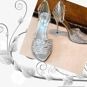 J Renee Heels 12 w Woven Strap in Silver